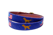 American Flag and Golden Retriever Needlepoint Belt by Asher Riley