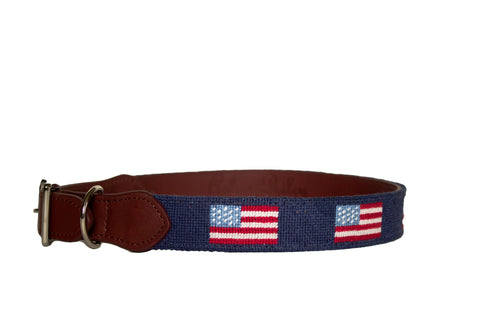 American Flag Needlepoint Dog Collar by Asher Riley