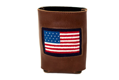 Asher Riley american flag needlepoint can cooler