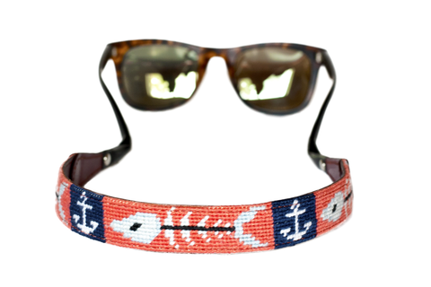 Asher Riley, anchor and fishbone needlepoint sunglass strap