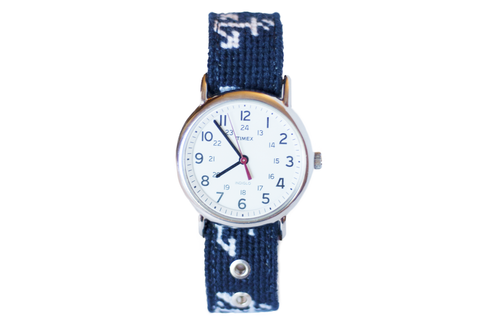 Asher Riley, anchor, needlepoint watch strap, Timex