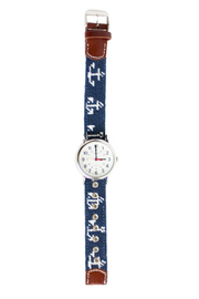 Asher Riley anchor needlepoint watch strap and Timex watch strap