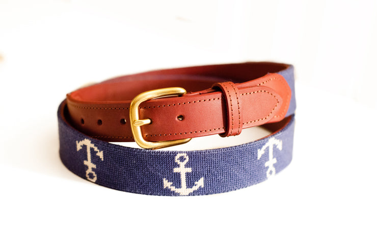 Anchor on navy needlepoint belt by Asher Riley