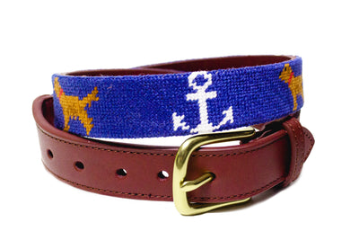 Anchor Golden Retriever Needlepoint belt by Asher Riley