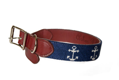 Anchor needlepoint dog collar by Asher Riley
