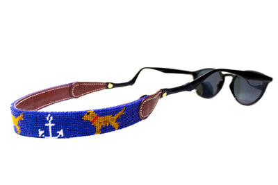 Anchor Golden Retriever needlepoint sunglass straps by Asher Riley