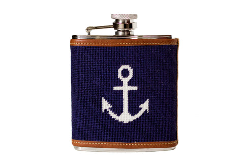 Anchor needlepoint flask by Asher Riley