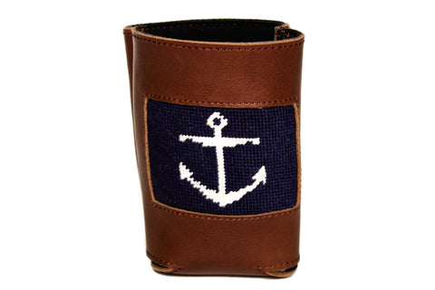 anchor needlepoint can cooler leather koozie by Asher Riley