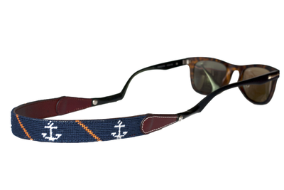Asher Riley, anchor, needlepoint sunglass straps