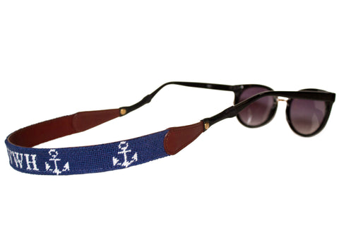 ANCHOR ON NAVY MONOGRAM NEEDLEPOINT SUNGLASS STRAPS