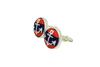 Anchor on Navy/Red Needlepoint Cufflinks