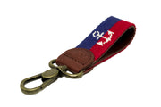 Anchor on navy and red stripe needlepoint key fob by Asher Riley