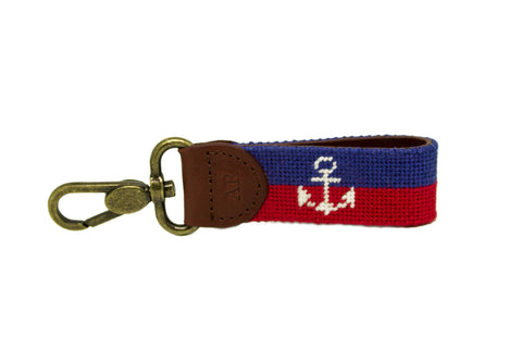 Asher Riley anchor needlepoint key fob