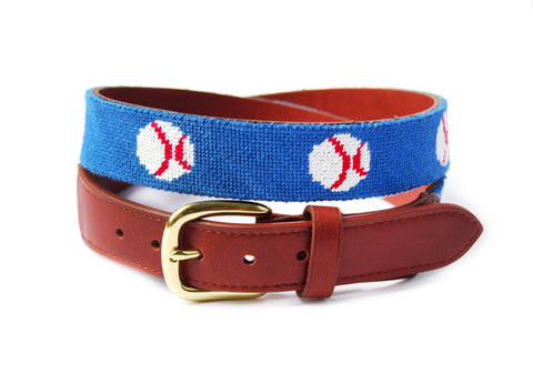 Baseball needlepoint belt by Asher Riley