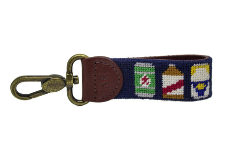 Beer Bottle Needlepoint Key Fob by Asher Riley