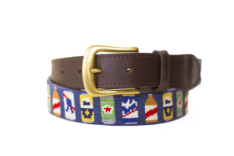 Beer Bottle Needlepoint belt by Asher Riley