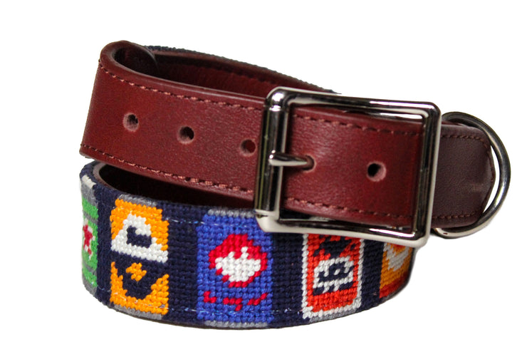 Beer Bottle Needlepoint Dog Collar by Asher Riley