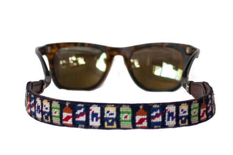 Beer Can needlepoint sunglass straps by Asher Riley