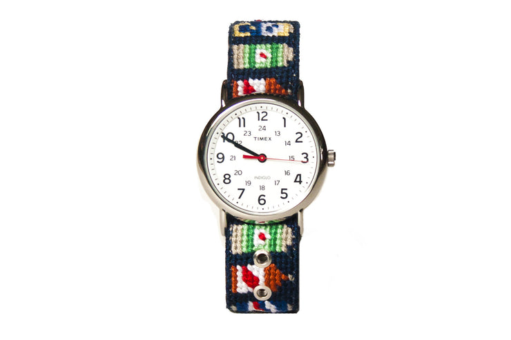 Beer Bottle Needlepoint Watch Strap by Asher Riley with Timex Watch Face