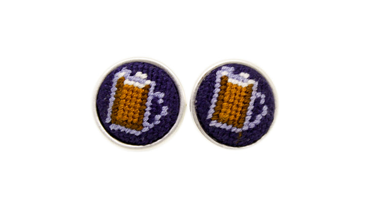 Beer mug needlepoint cufflinks by asher riley