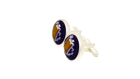 Needlepoint cufflinks by Asher Riley