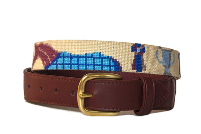 Equestrian polo pony on beige needlepoint belt by Asher Riley