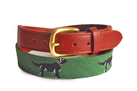 black lab on green needlepoint belt childrens