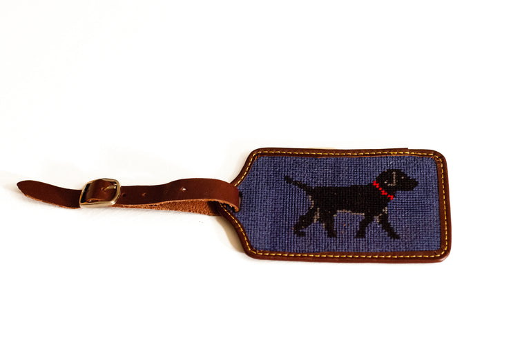 Black Lab Needlepoint Luggage Tag