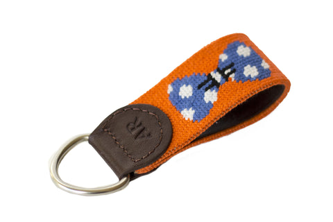 Blue bow tie needlepoint key fob by Asher Riley