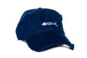 Bone Fish Navy Needlepoint Hat