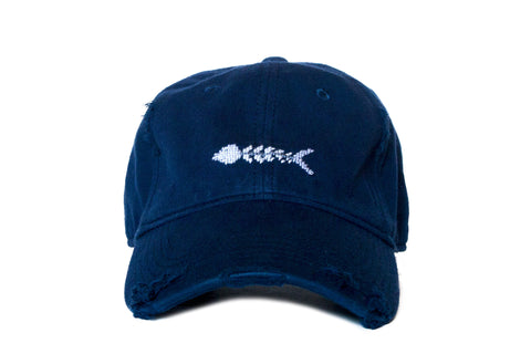Bone Fish Needlepoint on Navy by Asher Riley