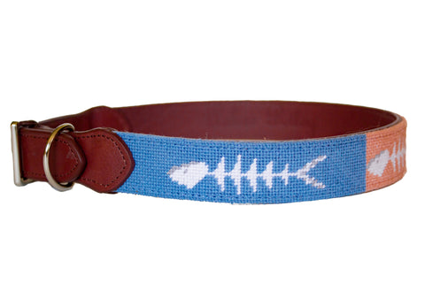 Bonefish needlepoint dog collar by Asher Riley