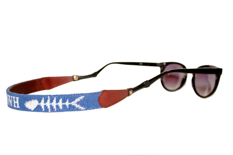 Asher Riley monogrammed bonefish on blue needlepoint sunglass straps
