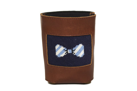Bow Tie needlepoint can cooler leather koozie