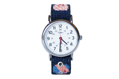 Asher Riley, bow tie needlepoint watch strap, Timex