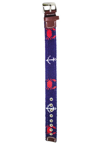CRAB & ANCHOR NEEDLEPOINT WATCH STRAP