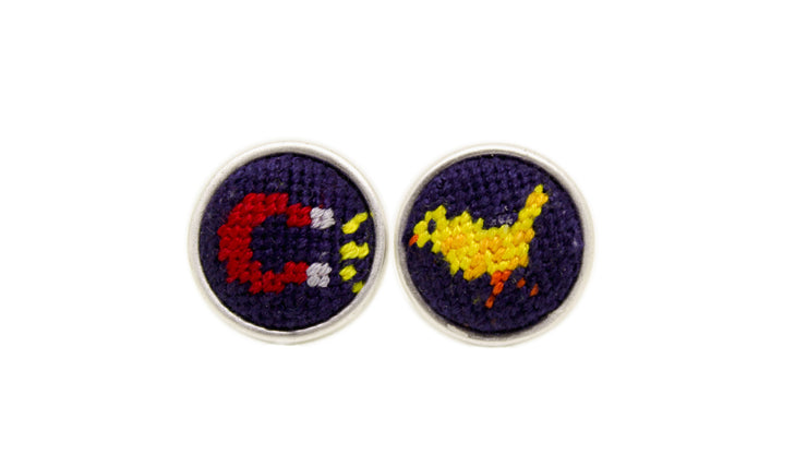 Chick magnet needlepoint cufflinks by Asher Riley