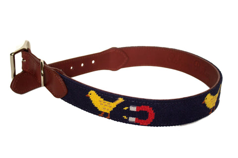 Asher Riley chick magnet needlepoint dog collar