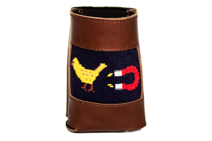 Asher Riley chick magnet needlepoint can cooler, koozie