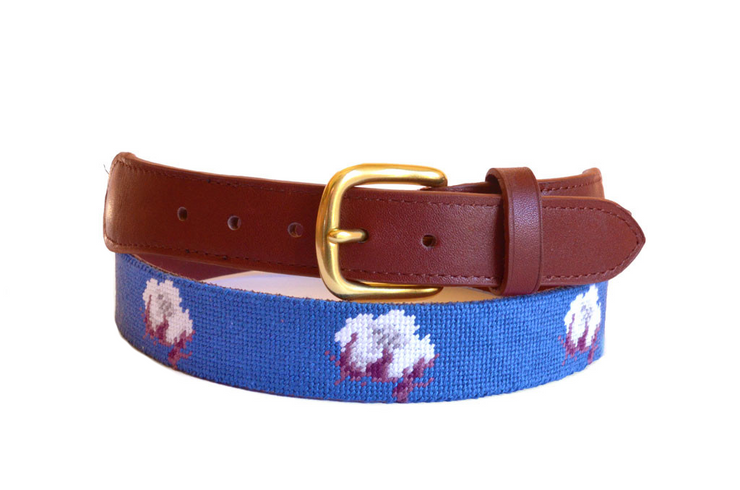 Asher Riley cotton boll children's needlepoint belt