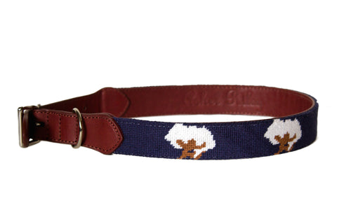Cotton Boll on navy needlepoint dog collar by Asher Riley