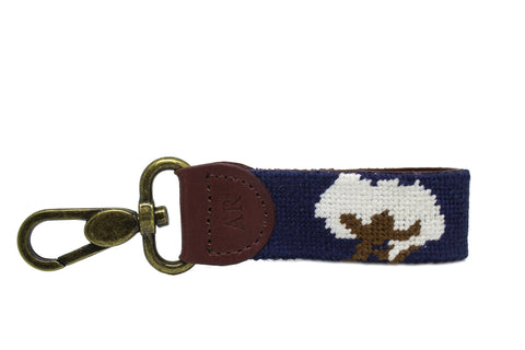 Cotton Boll Needlepoint Key Fob by Asher Riley