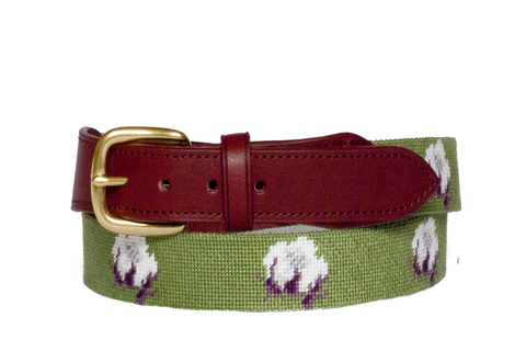 Cotton Boll Needlepoint Belt Asher Riley
