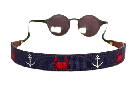 Asher Riley needlepoint crab and anchor needlepoint sunglass straps