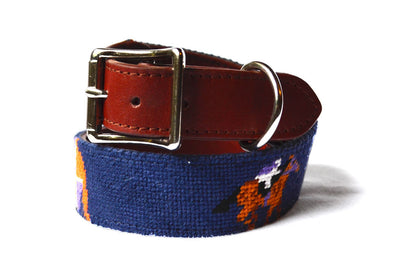 Asher Riley derby needlepoint dog collar by Asher Riley