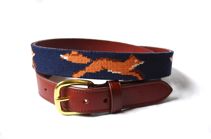 Asher Riley fox needlepoint belt