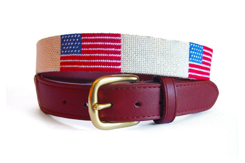 Asher Riley American Flag on Creme Needlepoint Belt