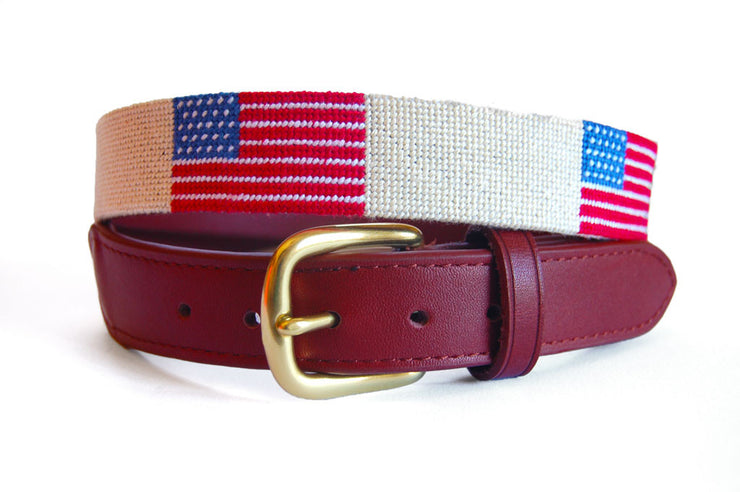Asher Riley American Flag needlepoint belt