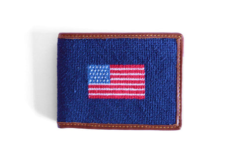 Asher Riley American Flag Needlepoint Wallet