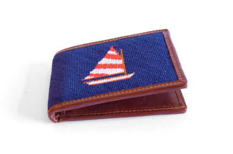 Sailboat needlepoint wallet by Asher Riley